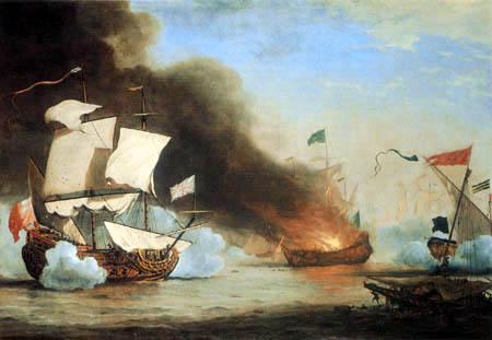 Willem van de Velde der Jüngere - Englisches Schiff im Kampf gegen Piraten