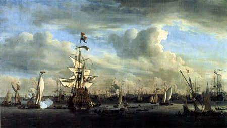 Willem van de Velde the Younger - 'Gouden Leeuw' near Amsterdam
