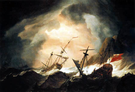 Willem van de Velde the Younger - English ships in the storm