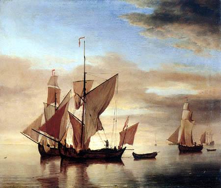 Willem van de Velde der Jüngere - Schiffe auf ruhiger See