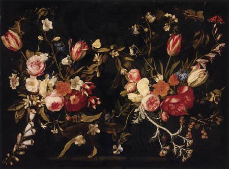Gaspar Pieter Verbruggen - Girlanden von Blumen