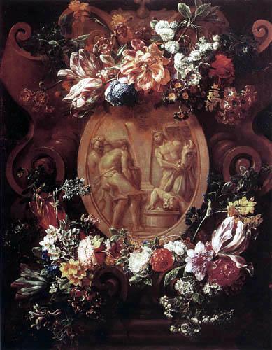Gaspar Pieter Verbruggen - Still Life of Flowers around a sculpted Cartouche with a Relief