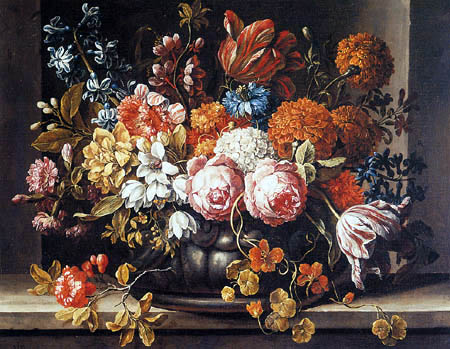Gaspar Pieter Verbruggen - A Still Life with Roses, Tulips and other Flowers