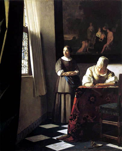 Jan Vermeer van Delft - Lady Writing a Letter with her Maid