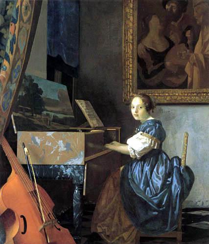 Jan Vermeer van Delft - A Lady Seated at the Virginal