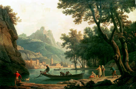 Claude-Joseph Vernet - Fischer am Seeufer vor einem Kloster