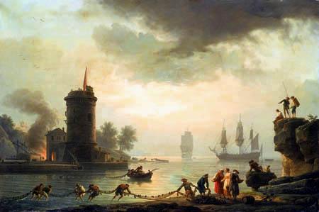 Claude-Joseph Vernet - Seehafen am Abend mit einem Leuchtturm