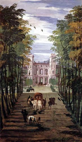 Paolo Veronese (Veronés) - Landschaft mit Villa und Kutsche