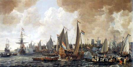 Lieve Verschuier - The Arrival of the English King Carl II in Rotterdam