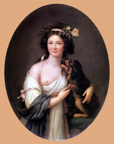 Elisabeth-Louise Vigée-Lebrun - Madame d´Aguesseau mit Hund