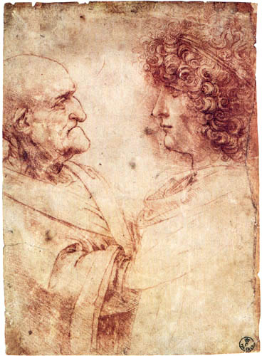 Leonardo da Vinci - An old and a young man in profile