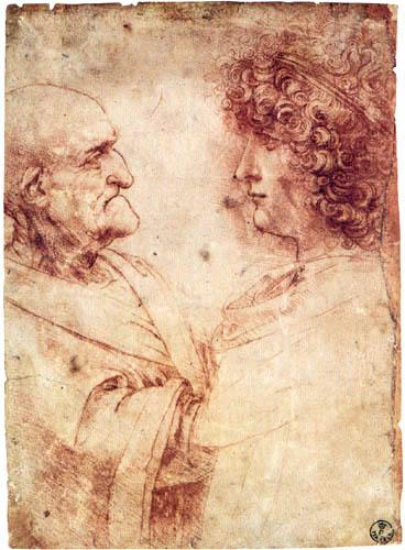 Leonardo da Vinci - Alter und junger Mann im Profil