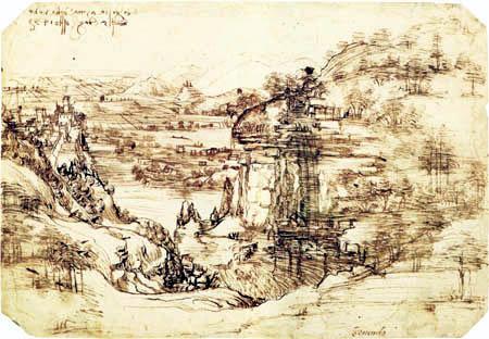 Leonardo da Vinci - La vallée de l'Arno