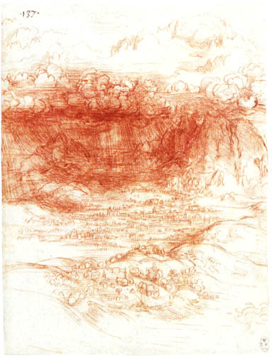 Leonardo da Vinci - Storm over an Alpine valley