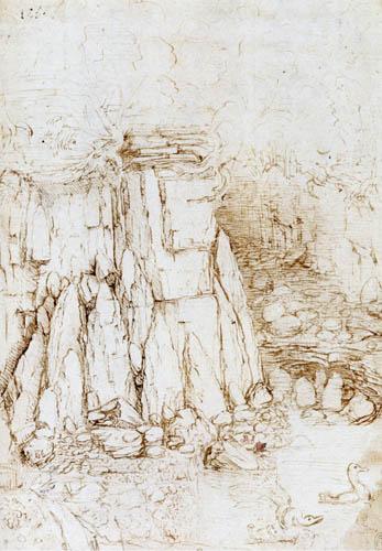 Leonardo da Vinci - Studie zu Felsformationen
