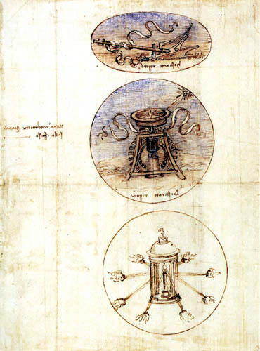Leonardo da Vinci - Plow, compass and lamp