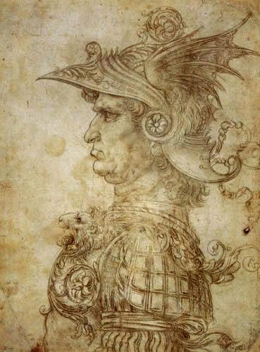 Leonardo da Vinci - Profil eines Kriegers als Turnieranführer