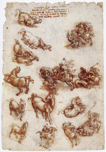 Leonardo da Vinci - Studie zu Tieren und dem hl. Georg