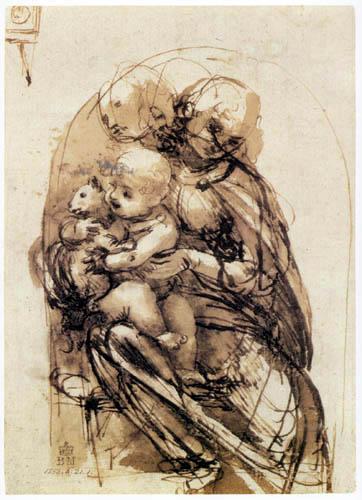 Leonardo da Vinci - Madonna with a cat, Study