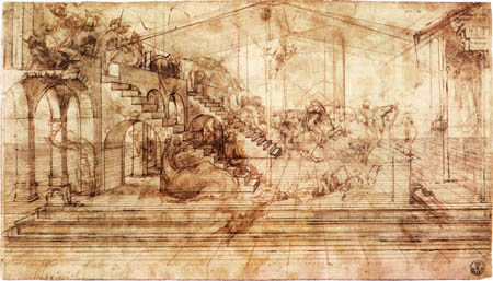 Leonardo da Vinci - Study for the Adoration of the Magi