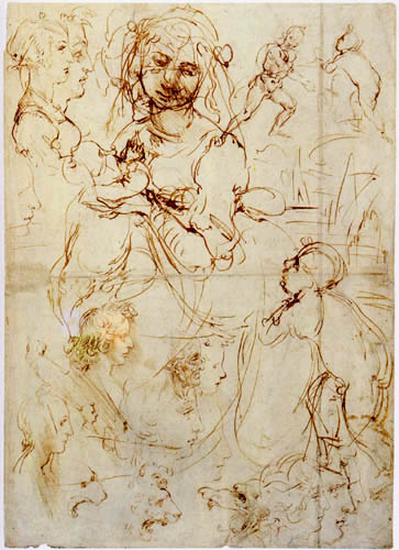 Leonardo da Vinci - Madonna and Child, Study