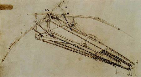 Leonardo da Vinci - Zeichnung einer Flugmaschine
