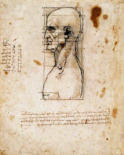 Leonardo da Vinci - Männerkopf im Profil