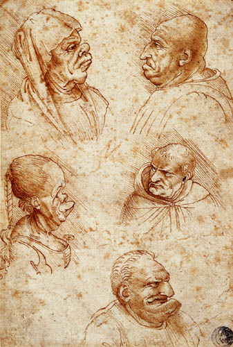 Leonardo da Vinci - Karikaturköpfe