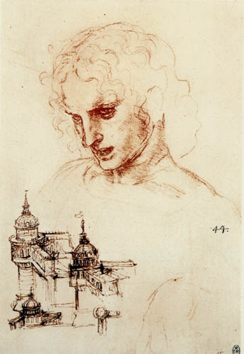 Leonardo da Vinci - Apostle head and a study of architecture