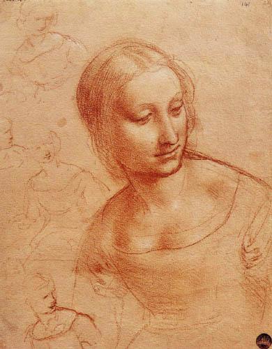Leonardo da Vinci - Etude sur la Madonna avec le mandrin