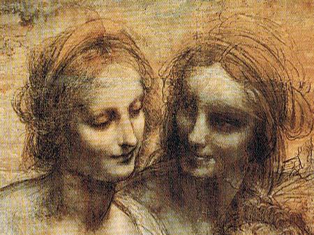 Leonardo da Vinci - Anna Selbdritt mit dem Johannesknaben und Maria mit Kind, Detail
