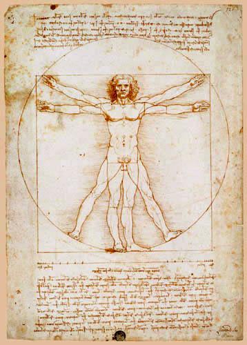 Leonardo da Vinci - Vitruvmann oder Der vitruvianische Mensch