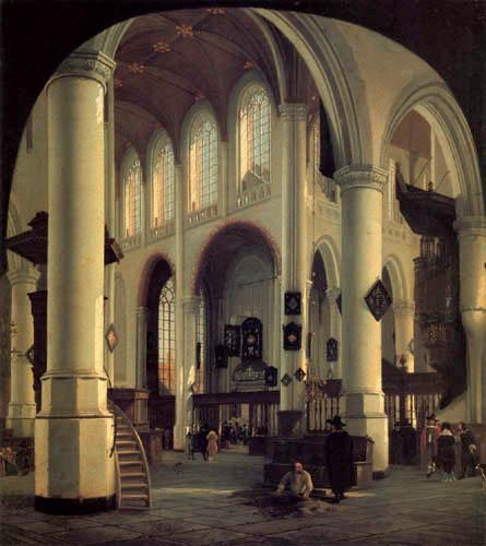 Hendrick Cornelisz. van der Vliet - The interior of the Oudekerk in Delft