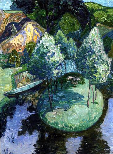 Heinrich Vogeler - Barkenhoff-Teich mit Insel