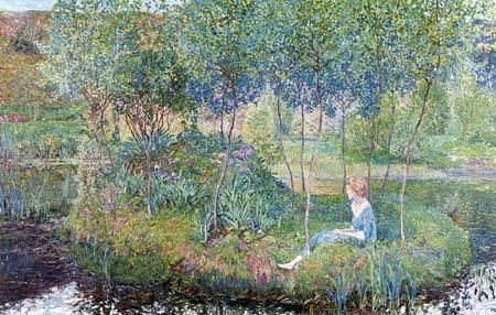 Heinrich Vogeler - Frühling, Martha auf der Barkenhoff-Insel