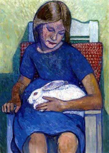 Heinrich Vogeler - Mädchen mit weissem Kaninchen