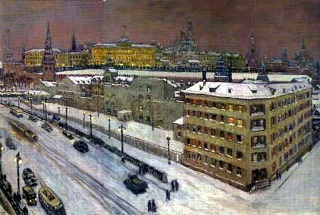 Heinrich Vogeler - Moskau mit Kreml in der Nacht