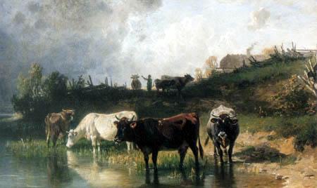 Johann Friedrich Voltz - Kühe am Gebirgssee