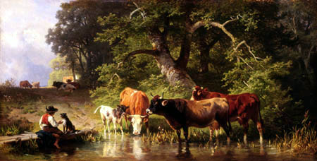 Johann Friedrich Voltz - Cows at the lake