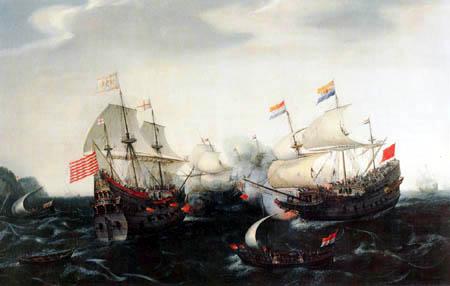 Hendrik Cornelisz Vroom - Holländisches und englisches Kriegsschiff