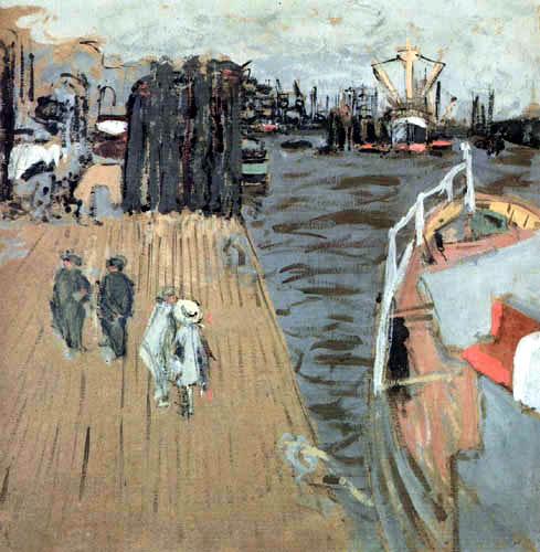 Edouard Vuillard - A barge on the wharf in Hamburg