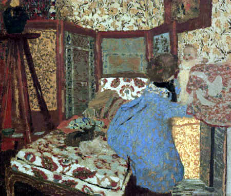 Edouard Vuillard - A woman in blue with a child