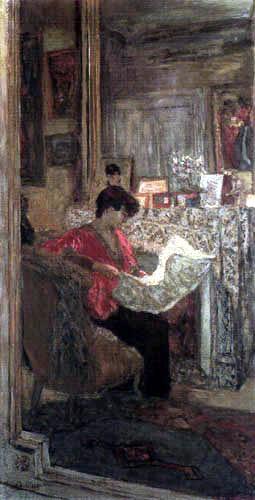 Edouard Vuillard - Lucy Hessel beim Zeitunglesen
