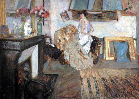 Edouard Vuillard - A model undressing in the studio Rue Truffaut