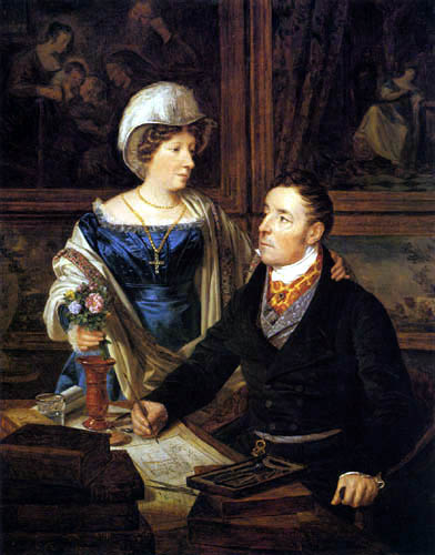 Ferdinand Georg Waldmüller - A cartographer with his wife