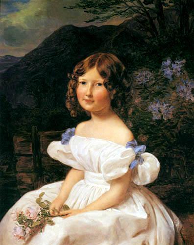 Ferdinand Georg Waldmüller - Mädchen mit Rosen