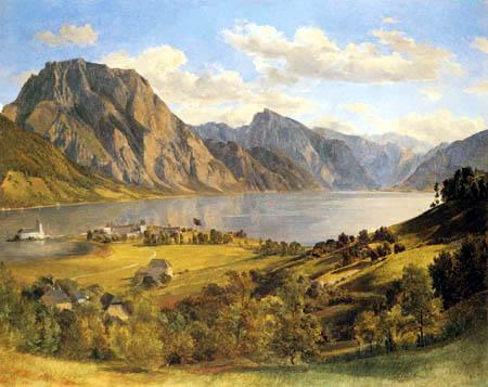 Ferdinand Georg Waldmüller - Der Traunsee mit dem Schloss Orth