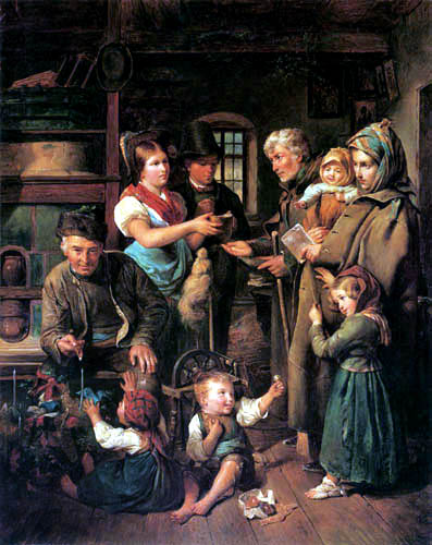 Ferdinand Georg Waldmüller - Charitable gift on Christmas Eve