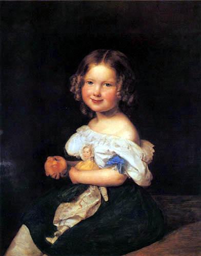 Ferdinand Georg Waldmüller - Mädchen mit einem Apfel