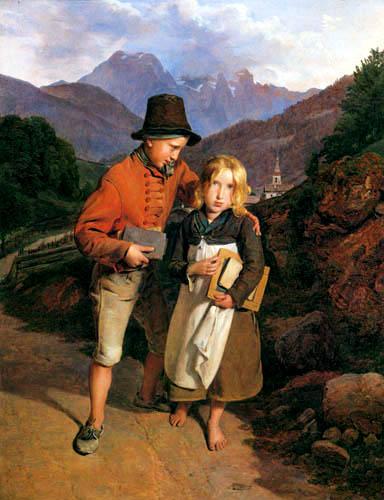 Ferdinand Georg Waldmüller - Kinder auf dem Heimweg